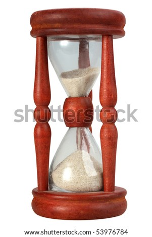 Single old-fashioned sand-glasses in motion. Isolated on white background. Close-up. Studio photography. - stock photo