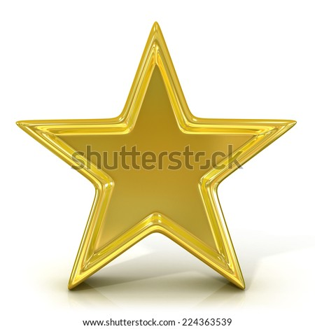Single old gold star. 3D render isolated on white background