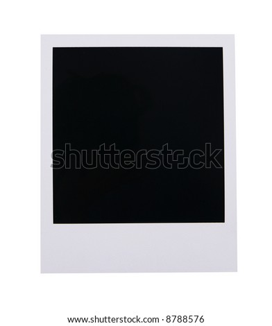 Single old instant photo film blank isolated on white background