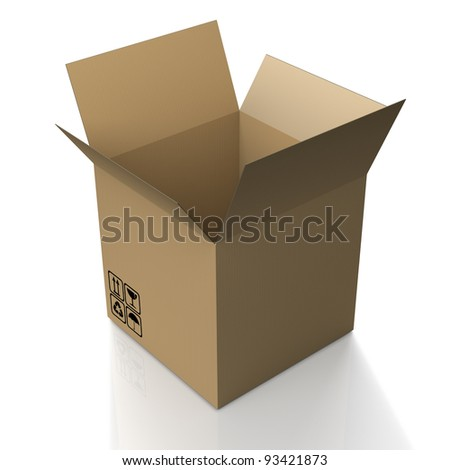 Single open cardboard box with transport symbols on white background
