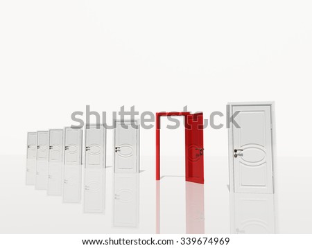 Single open red door in of several white doors white space - stock photo