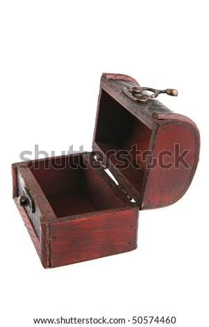 single open wooden chest with metal ornament - stock photo