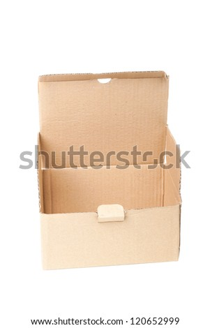 Single opened cardboard box isolated on white background