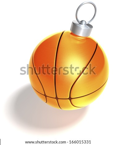 Single orange basketball christmas ball, bauble, 3d rendering isolated on white background - stock photo