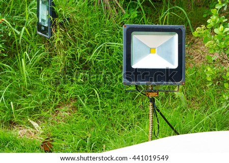 Single Outdoor 50W Waterproof RGB LED Floodlight Or Lawn Light - stock photo