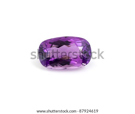 Single oval shaped amethyst isolated on white background. - stock photo