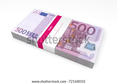 single packet of 500 Euro notes with bank wrapper - 50.000 Euros - stock photo