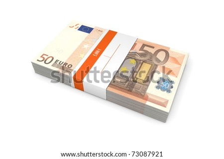 single packet of 50 Euro notes with bank wrapper - 5.000 Euros - stock photo