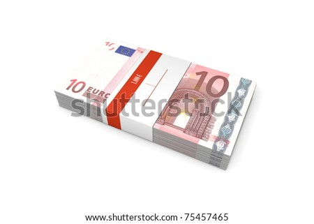 single packet of 10 Euro notes with bank wrapper - 1.000 Euros - stock photo