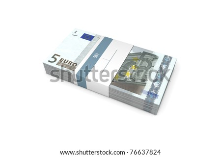 single packet of 5 Euro notes with bank wrapper - 500 Euros - stock photo