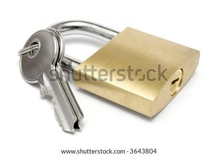 Single Padlock w/ Keys - stock photo