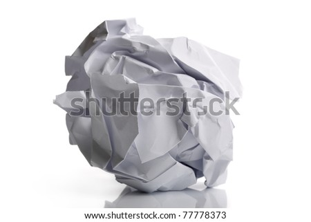 Single page of crumpled paper isolated on white background - stock photo