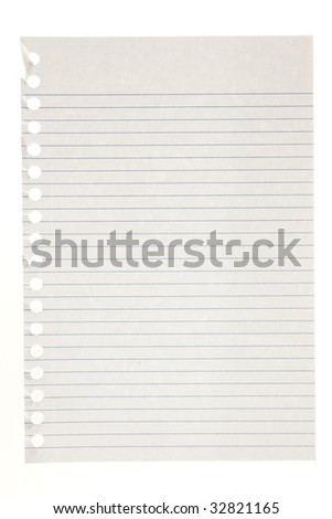 Single page torn from notebook, isolated on white.  Great for backgrounds. - stock photo