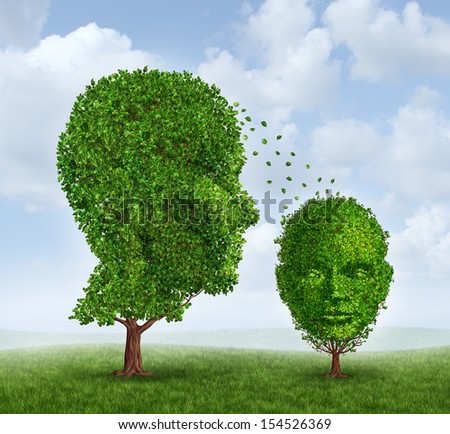 Single parenting family and raising a child as a solo parent social issue concept with two trees shaped as a human adult head as the mother or father and a child tree as an icon of parental guidance