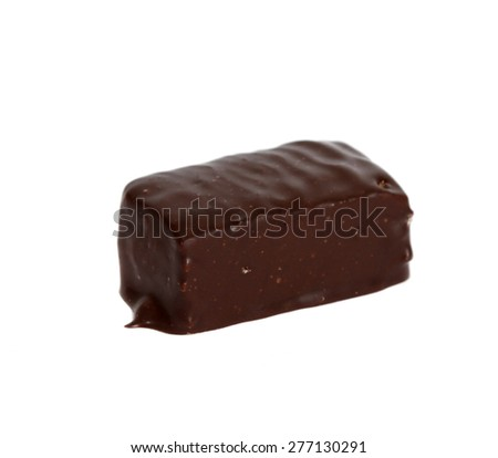 Single pastille covered in chocolate with marmalade on white background, cut out  - stock photo