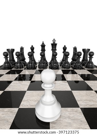 Single pawn against many enemies , isolated on white, 3d render - stock photo