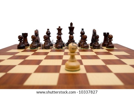 Single pawn looking down the chess board at the opposing pieces. A clipping path is included for easy extraction. - stock photo