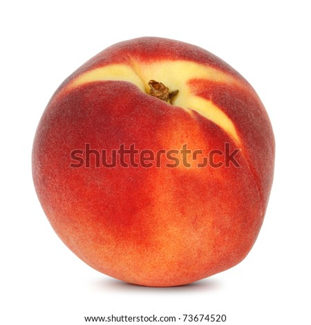 single peach on white background - stock photo