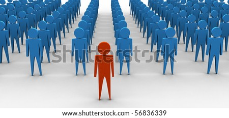 Single person in front of group