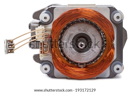 Single-phase motor with an excitation winding. Front view close-up - stock photo