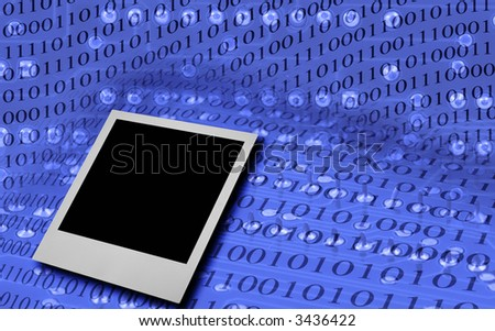 single photo frame against abstract binary code background (the binary code is false) - stock photo