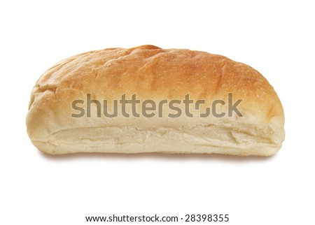 Single piece of Ciabatta bread on white. Shot from side