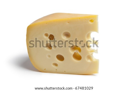 Single piece of Dutch farmers cheese with holes on white background