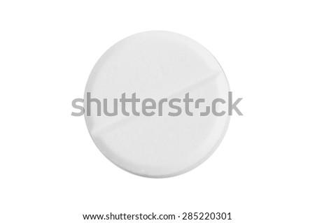 Single pill on white background - stock photo