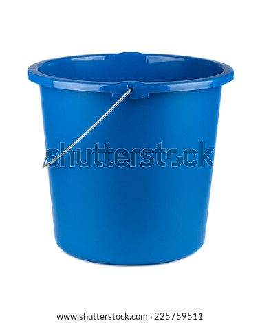Single plastic blue bucket isolated on a white background - stock photo