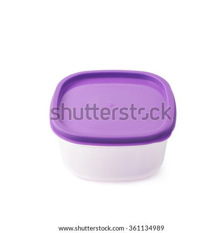 Single plastic food container isolated - stock photo