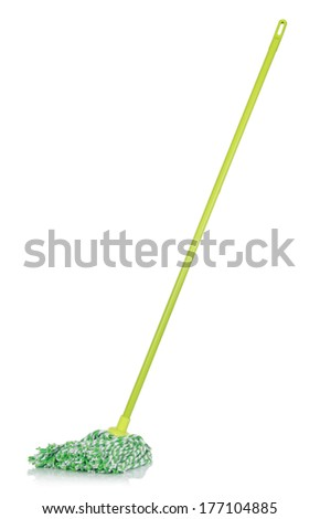 single plastic mop isolated over white background - stock photo