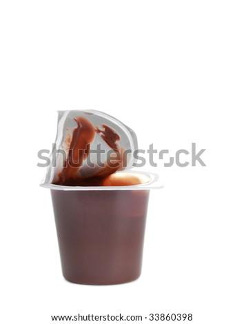 single portion of chocolate pudding, isolated on white - stock photo