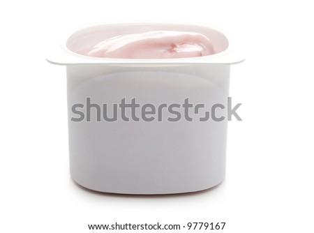 single portion of strawberry yogurt, isolated on white - stock photo