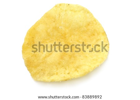 Single potato chip close-up - stock photo