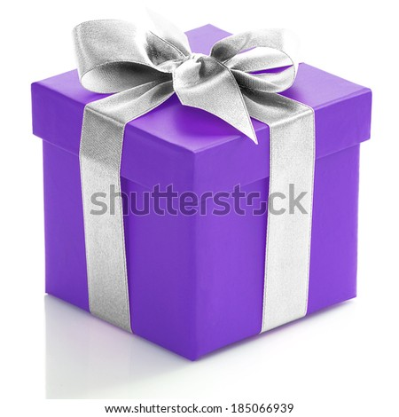Single purple gift box with silver ribbon on white background.  - stock photo