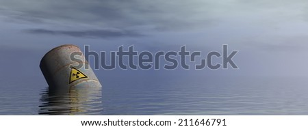 Single radioactive barrel floating in the ocean by morning light - 3D render - stock photo