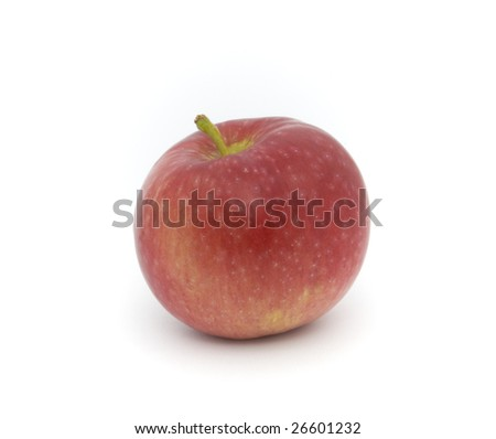 Single red and yellow apple on white background