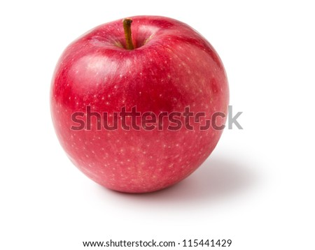 single red apple isolated on white background - stock photo