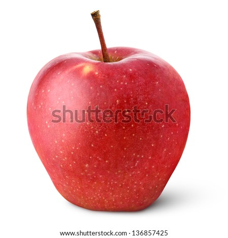 Single red apple isolated on white with clipping path - stock photo