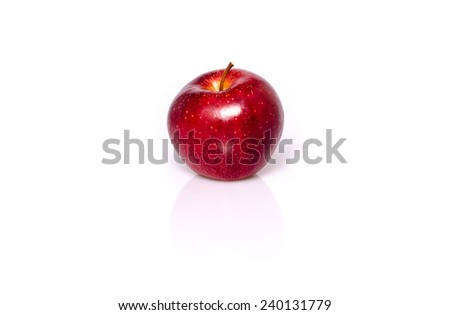 Single red apple with shadow and reflection on white - stock photo