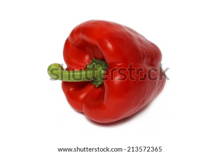 Single red bell pepper - isolated on white - stock photo