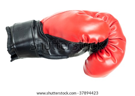 Single red boxing glove isolated on white background