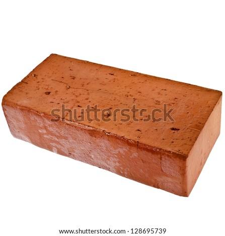 single red brick isolated on white background - stock photo