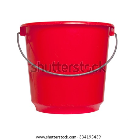 Single red bucket isolated on a white background - stock photo