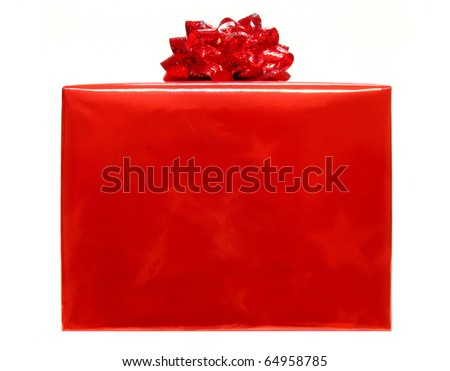 Single red Christmas gift box with bow isolated on a white background - stock photo