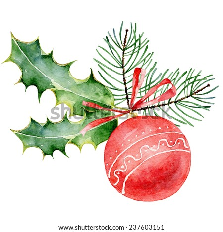 Single red decorated Christmas ball on white background. Watercolor  illustration - stock photo