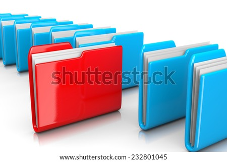 Single Red Document Folder among Many Blue on White Background 3D Illustration, Find Documents Concept - stock photo