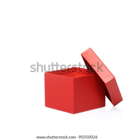 Single red gift box on white background. - stock photo