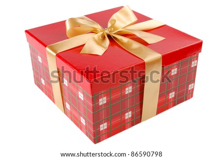 Single red gift box with golden ribbon - stock photo