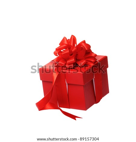 Single red gift box with red ribbon on white background. - stock photo